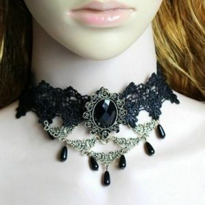 Black Lace Choker Velvet Necklace NWT